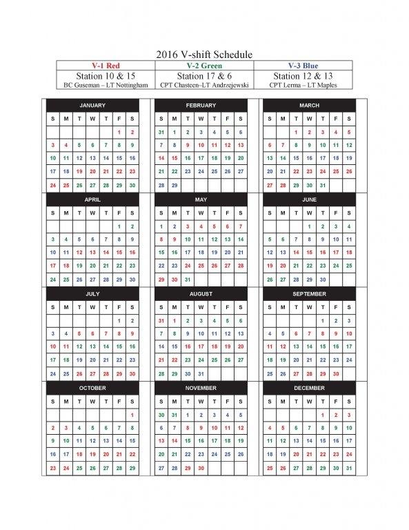 2016 V-shift Schedule